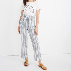 [NWT] Madewell Striped Linen-Blend Paperbag Pants
